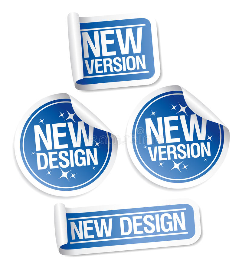 New Design and Version stickers. vector illustration