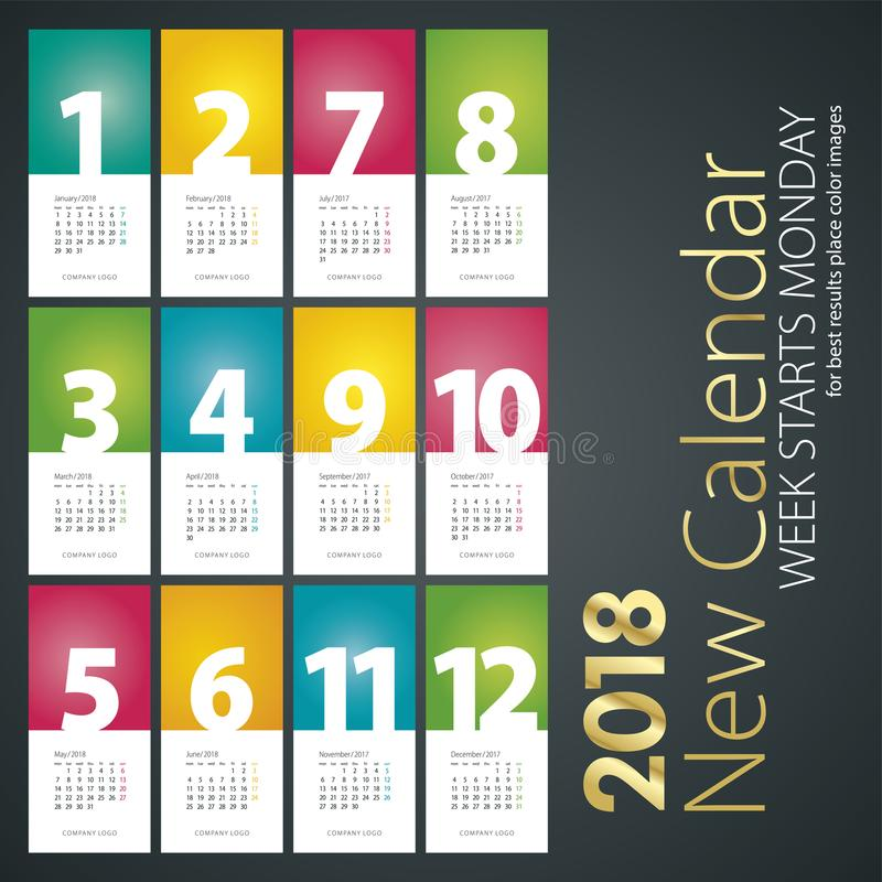 New Desk Calendar 2018 week starts monday portrait background stock illustration