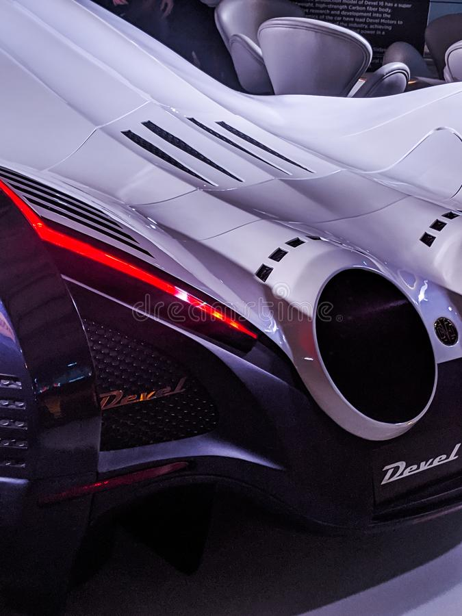 New devel concept car on display as well as a black bentley stock photos