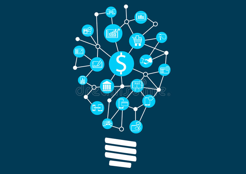 New digital technology within financial services business. Creative idea finding represented by light bulb royalty free illustration