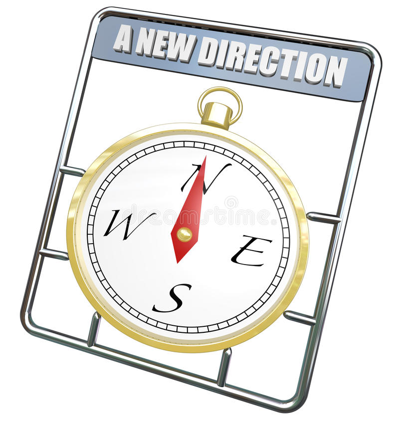 A New Direction Compass Change Course Lead to Success. A New Direction words on gold compass to symbolize change and evolving to direct to a new course to lead stock illustration