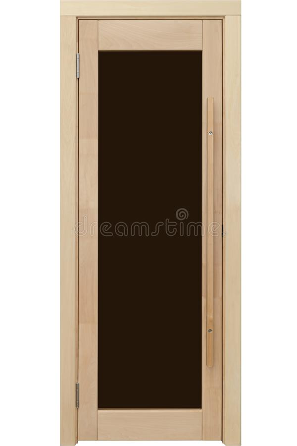 New door made of natural wood with dark glass royalty free stock photos