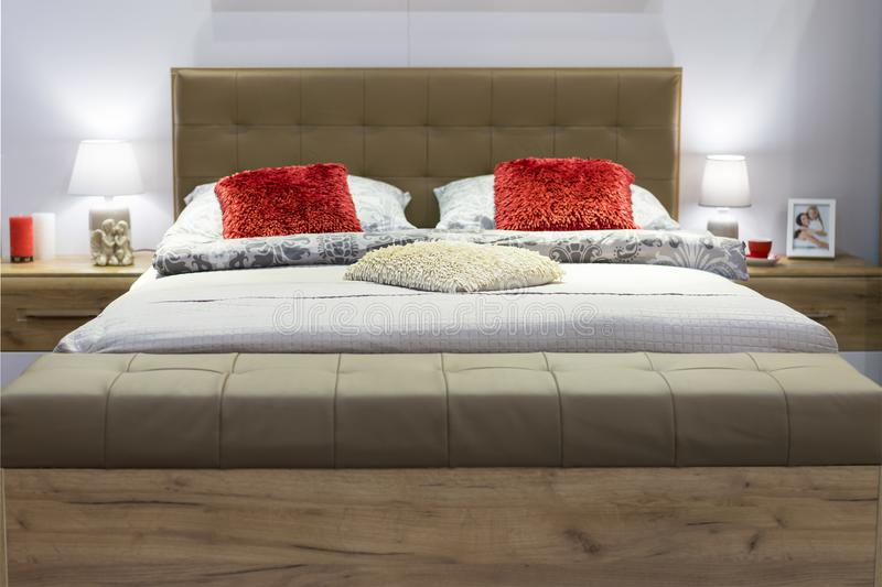 New double bedroom with pillows and covers. The concept of home comfort.  royalty free stock photos