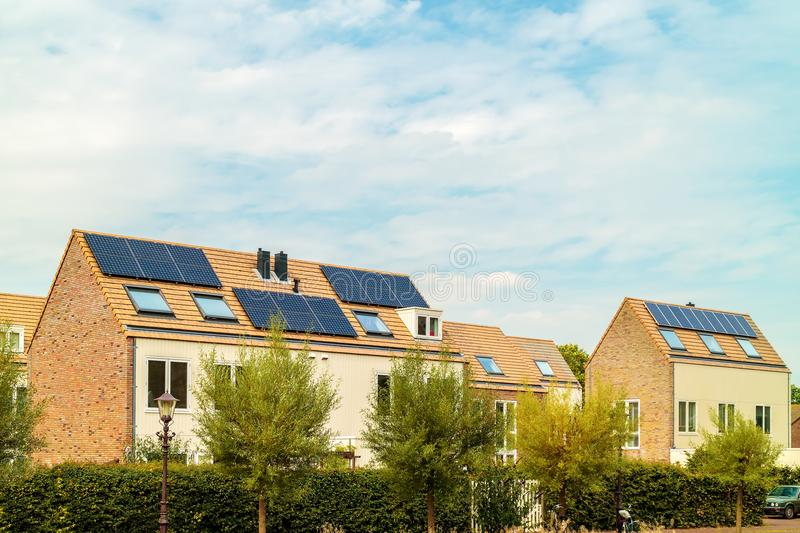 New Dutch houses with solar panels stock photos