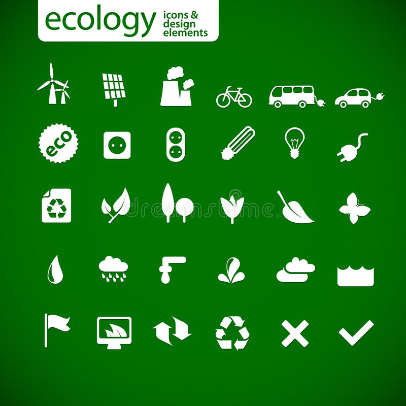 New ecology icons. On green background royalty free illustration