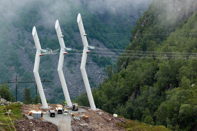 Electrical power pylons are being installed in Norway stock photo
