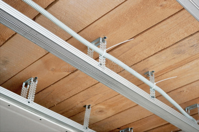 New Electrical Wiring In A Suspended Ceiling Stock Image - Image ...