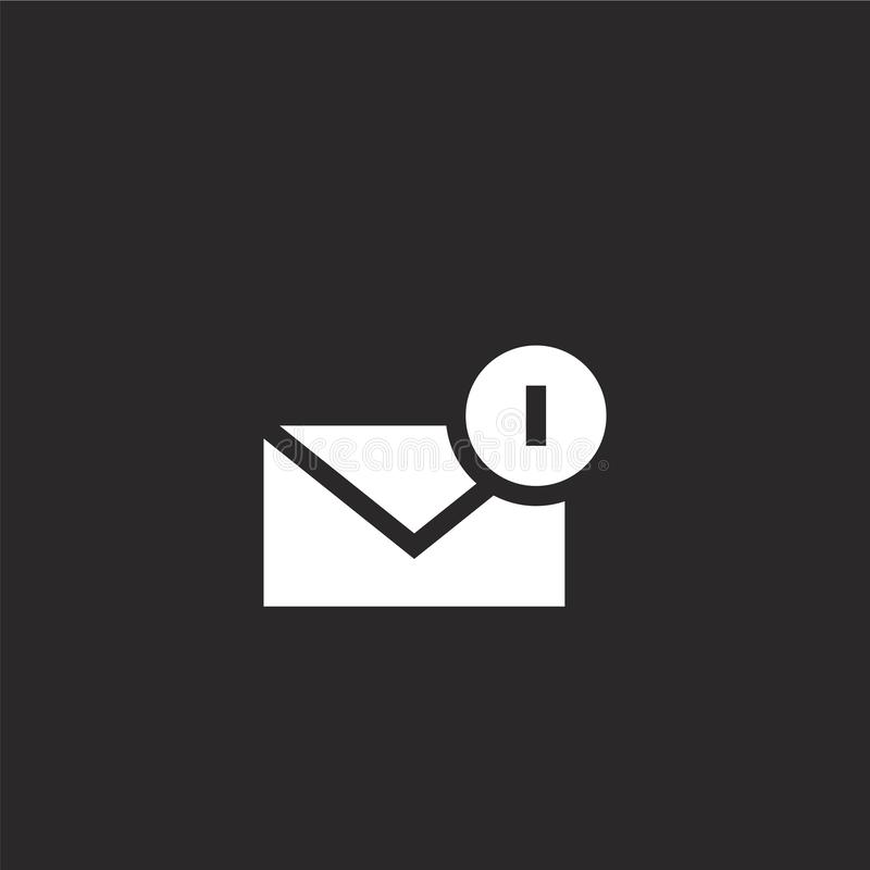 New email icon. Filled new email icon for website design and mobile, app development. new email icon from filled email collection. Isolated on black background stock illustration