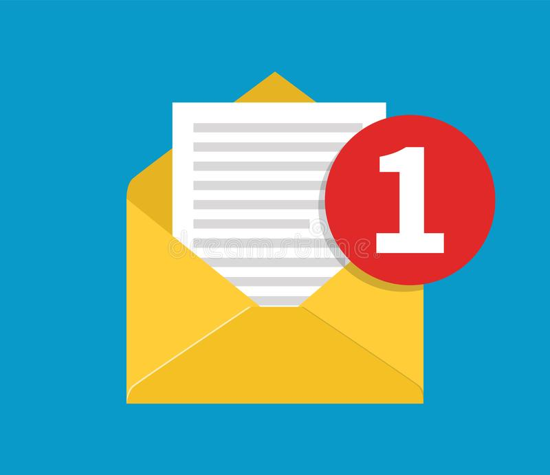 New Email, incoming message vector illustration