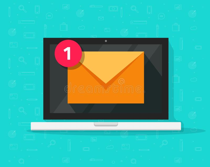 New email on laptop vector illustration, flat cartoon style of computer and e-mail envelope with notification received. New email on laptop vector illustration vector illustration