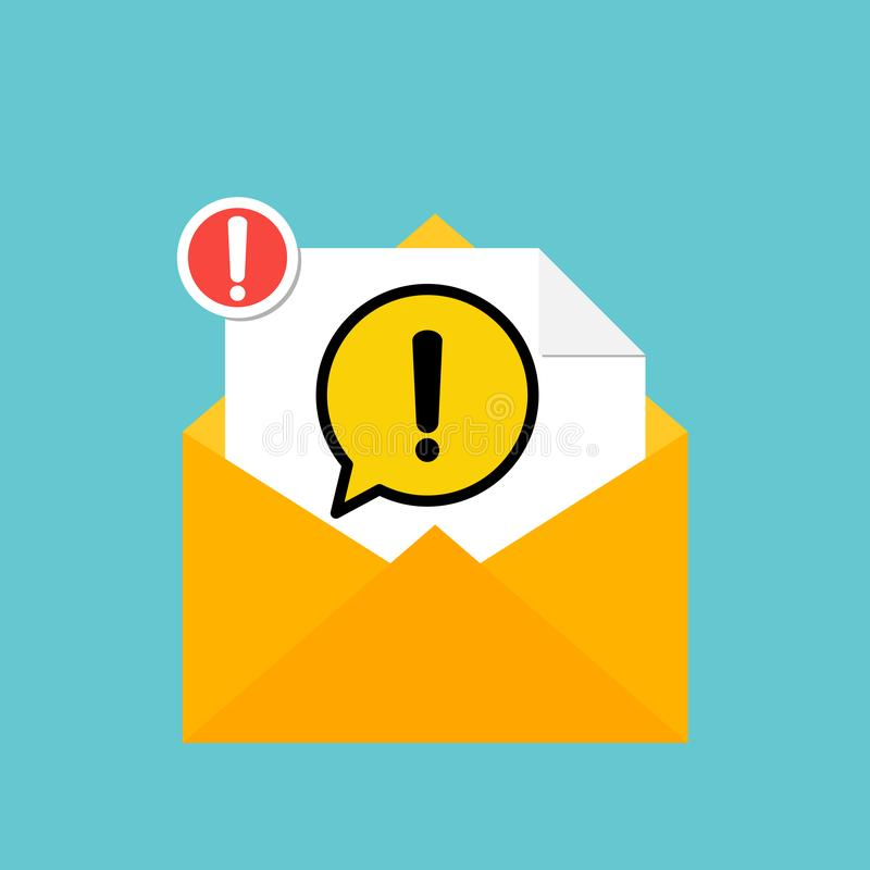 New email notification with yellow danger warning attention sign in a speech bubble icon. Vector vector illustration