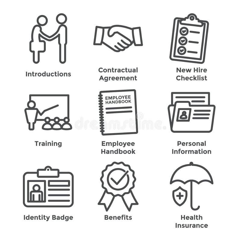 New Employee Hiring Process icon set w checklist, handshake, t royalty free illustration