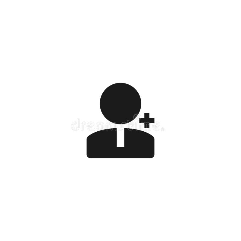 New employee icon design. person worker with plus sign symbol. simple clean professional business management concept vector. Illustration design. eps 10 stock illustration