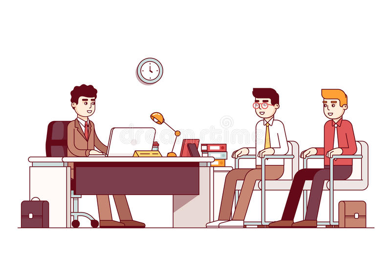 New employees and boss sitting in office room stock illustration