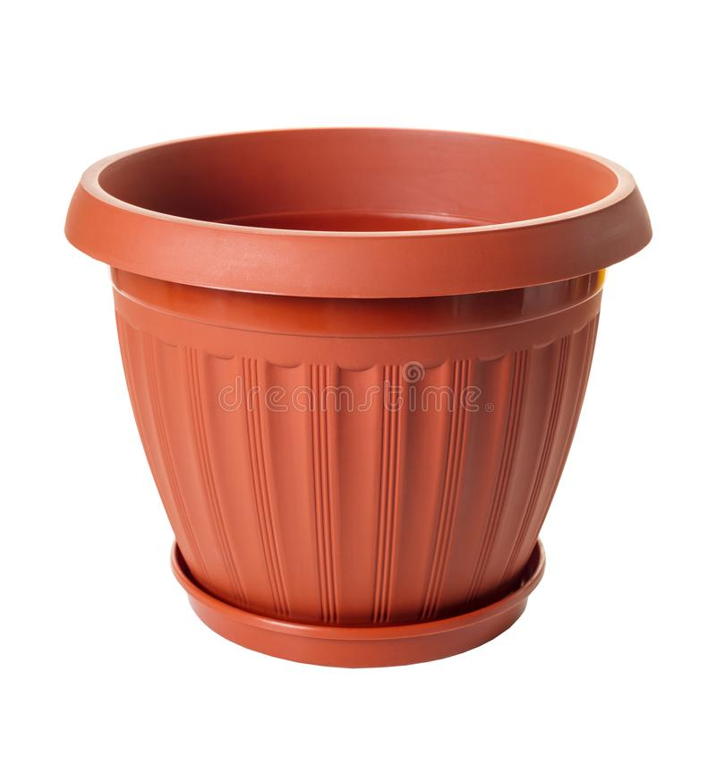 New empty flowerpot. On white isolated background stock images