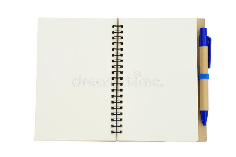 New empty note book with blue pen royalty free stock photography