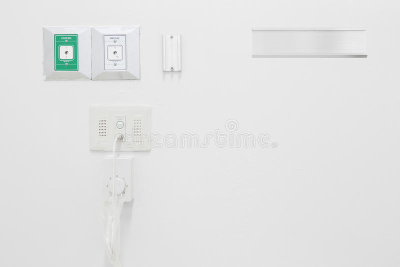 New empty oxygen and vacuum pipelines in hospital stock photo