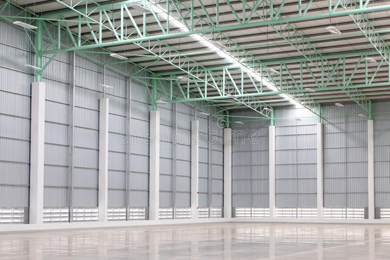New empty warehouse for customer rent. A warehouse is a commercial building for storage of goods. Warehouses are used by manufacturers, importers, exporters stock photos