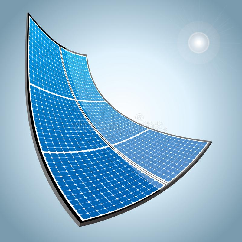 New energy concept design.Vector drawn solar panels. vector illustration
