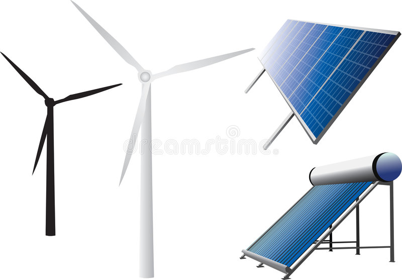 New energy icons. Icons of solar water heating system, solar panels, wind turbines