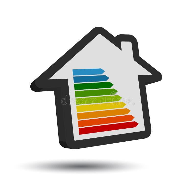 New Energy klassificerar tabellen - symbol för hus 3D med skugga stock illustrationer