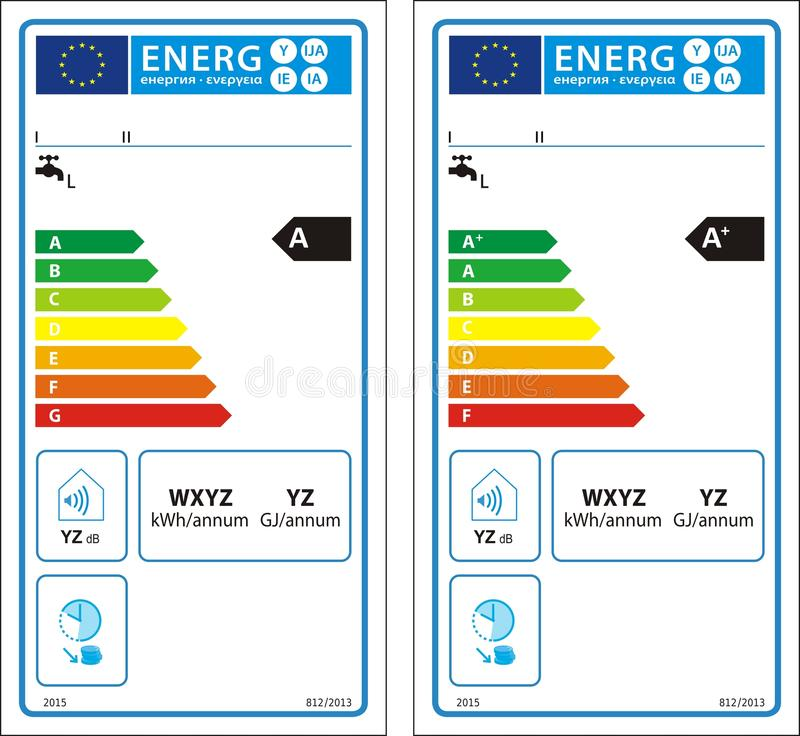 New energy rating graph label. Conventional water heaters new energy rating graph label in vector vector illustration