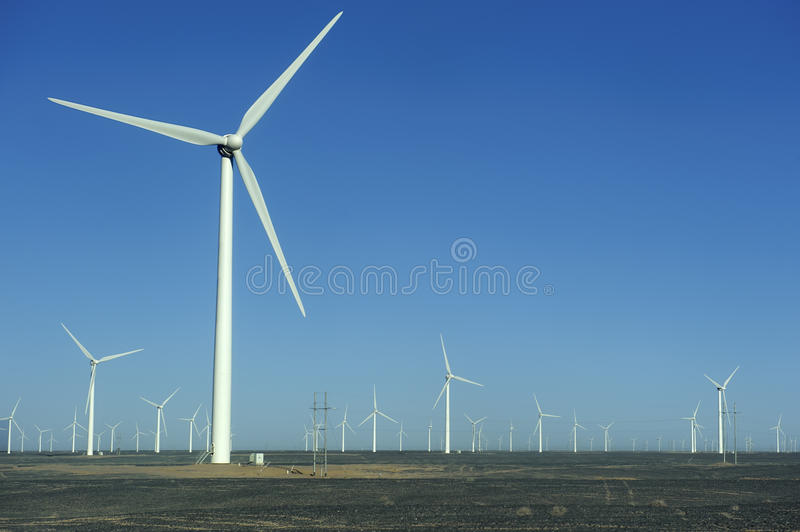 New energy source of wind power windmills. In the wide Gobi Desert stock photography