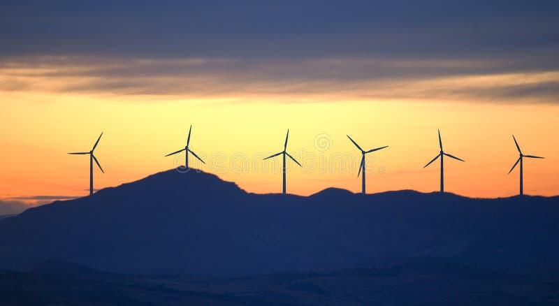 New energy wind turbines stock photos