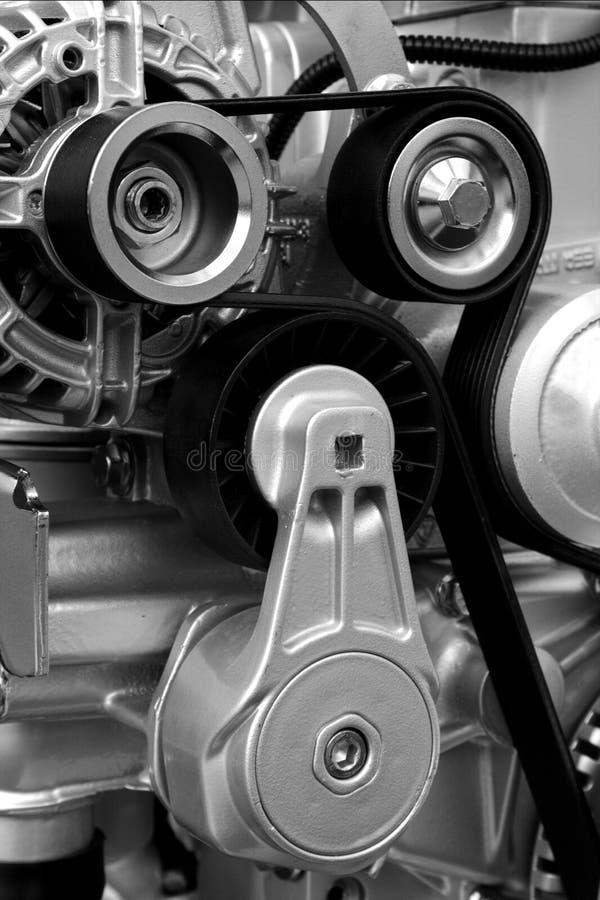 New engine - Power transmition belts stock photos