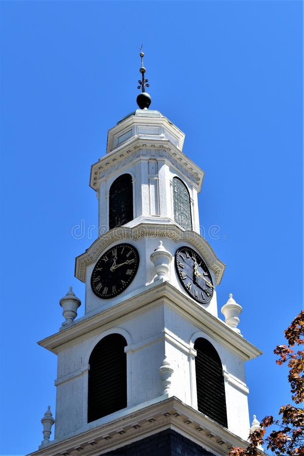 Old church steeple, located in Town of Peterborough, Hillsborough County, New Hampshire, United States. New England Architecture. Church steeple located in town royalty free stock photos