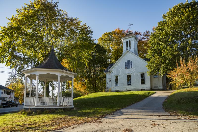 New England Church in the Maine Fall. New England Church in the Fall in Limerick Maine, USA stock image