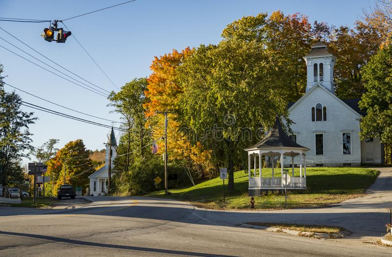New England Church in the Maine Fall. New England Church in the Fall in Limerick Maine, USA royalty free stock images