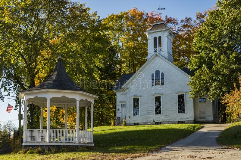 New England Church in the Maine Fall. New England Church in the Fall in Limerick Maine, USA stock photography