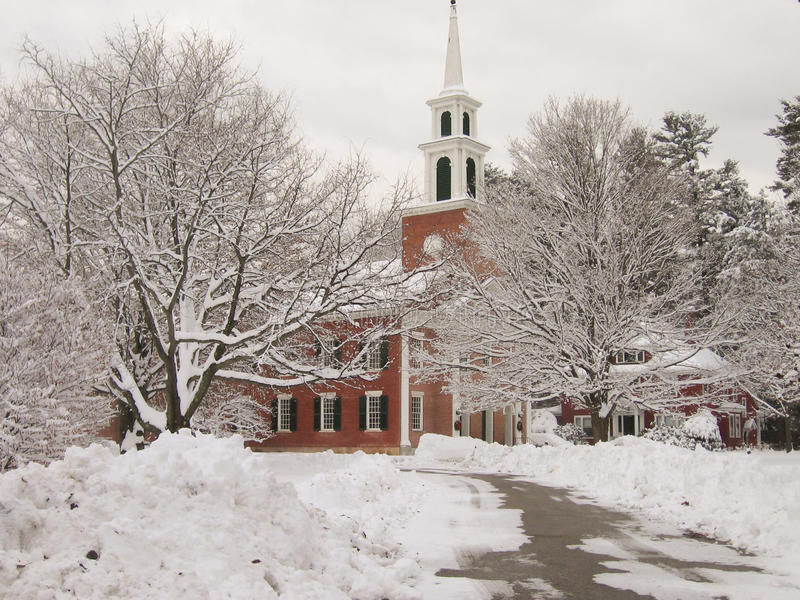 New England church in winter stock photos