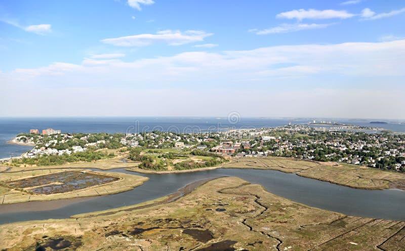 New England Coastline - Aerial View stock photos