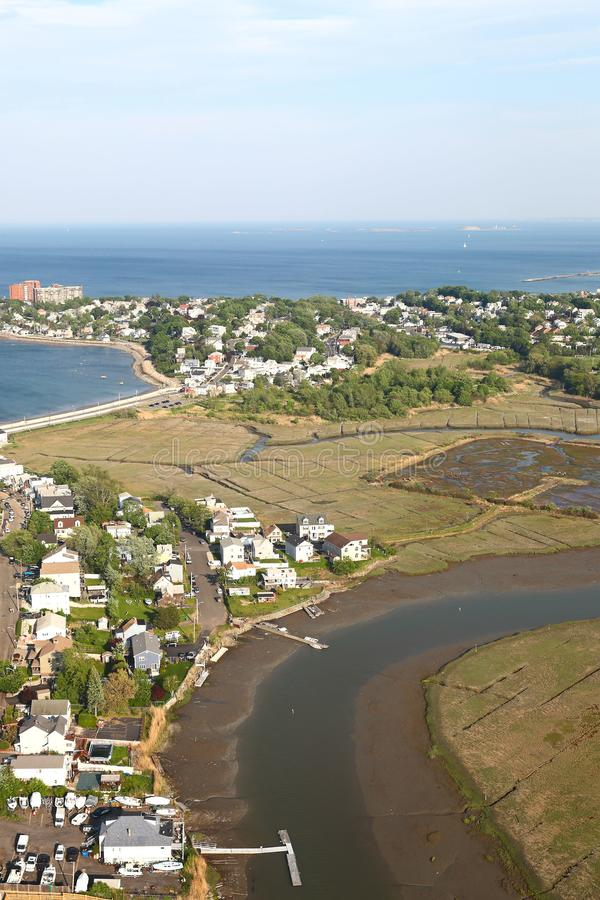 New England Coastline - Aerial View royalty free stock images