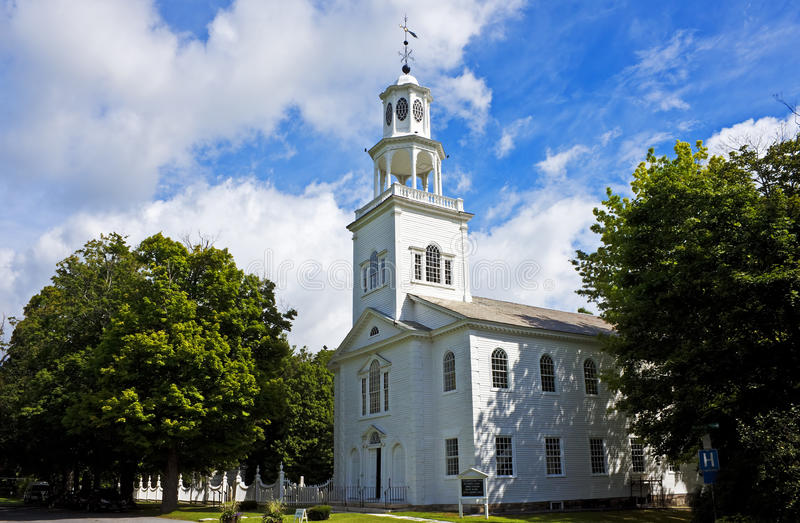New England Congregational church. Historic First Congregational Church (Old First Church, built 1805), Bennington, Vermont--on the National Register royalty free stock photos