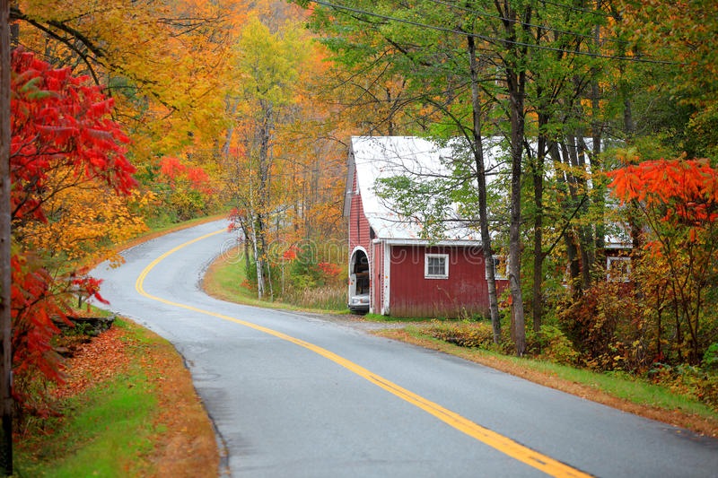 New England drive. Scenic drive across New England fall foliage royalty free stock photography