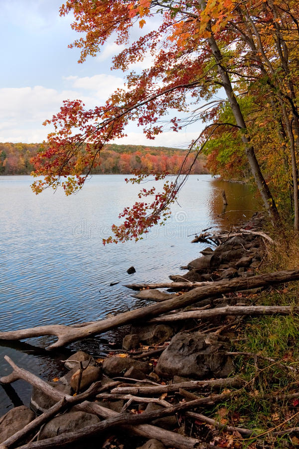 New England Fall Foliage. A gorgeous autumn scene with a lake and trees showing the bright colors of fall in New England stock photos
