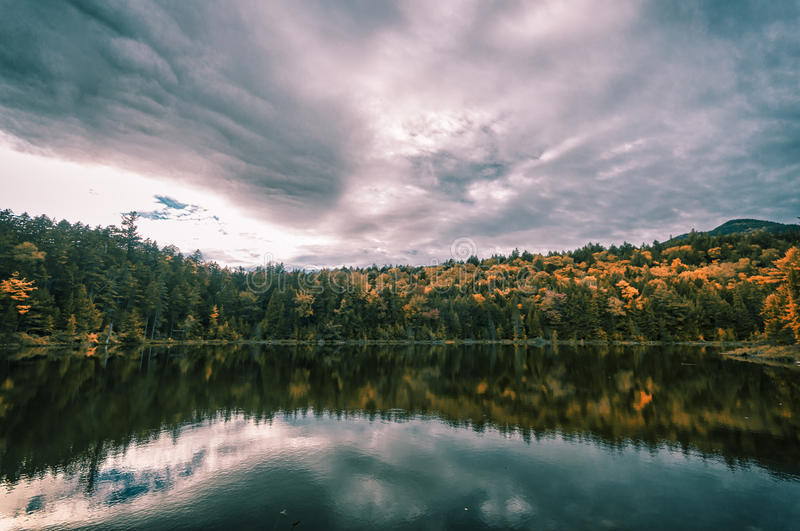 New England in fall. Fall foliage in New Hampshire, New England stock image