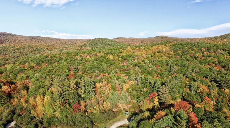 New England foliage in fall season. Aerial view.  royalty free stock image