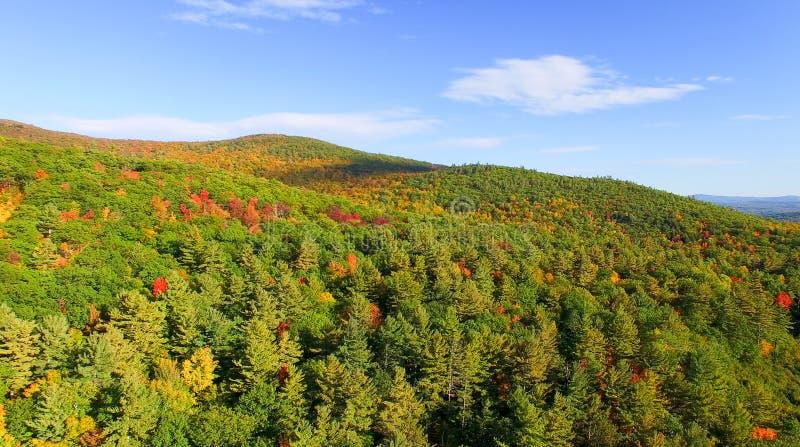 New England foliage in fall season. Aerial view.  royalty free stock photo