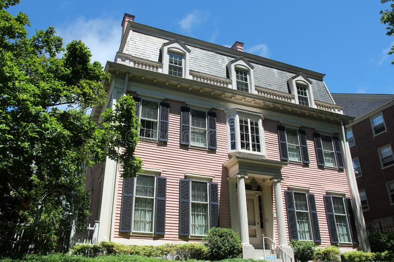 New England house. PROVIDENCE, USA - JUNE 8, 2013: Typical New England architecture in Providence, Rhode Island. Providence is the capital and most populous city stock images