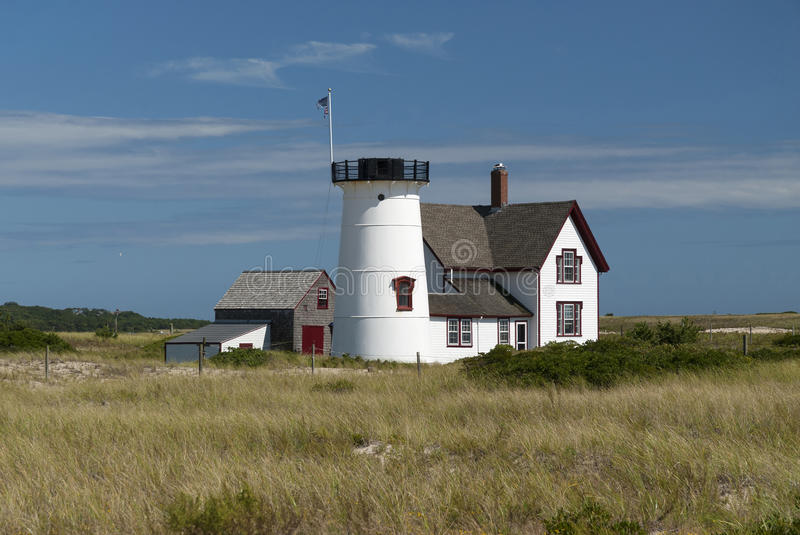 New England Lighthouse Without Lantern. Stage Harbor lighthouse is Cape Cod's famous beacon with its lantern removed. It is the only beacon without a stock image