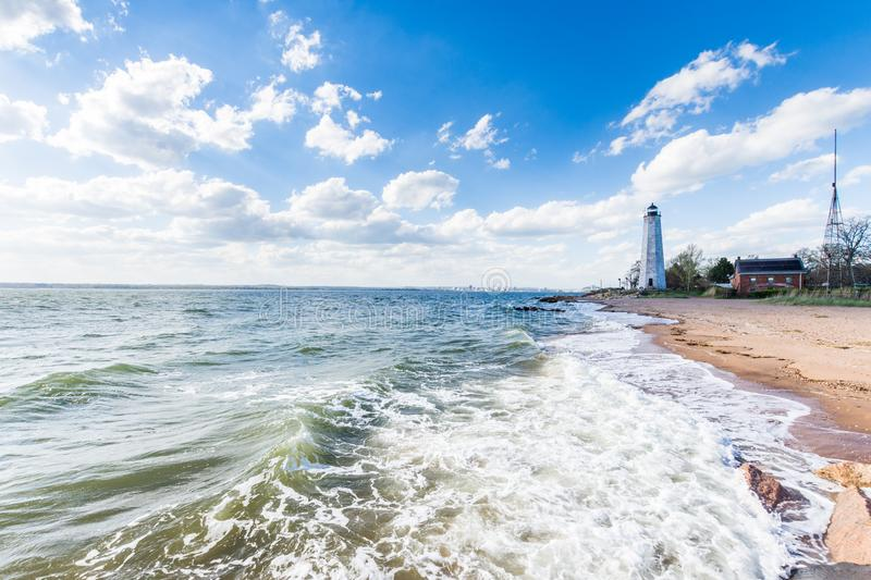 New England Lighthouse in Lighthouse Point Park in New Haven Con. Necticut stock photography