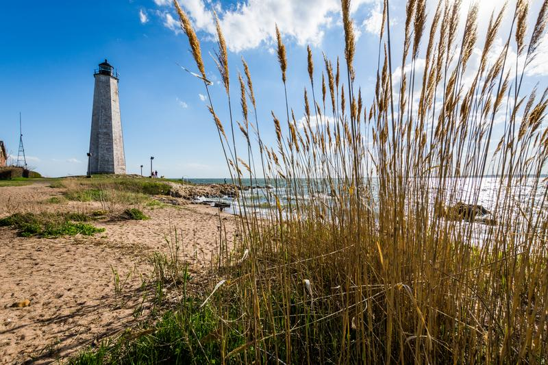 New England Lighthouse in Lighthouse Point Park in New Haven Con stock photos