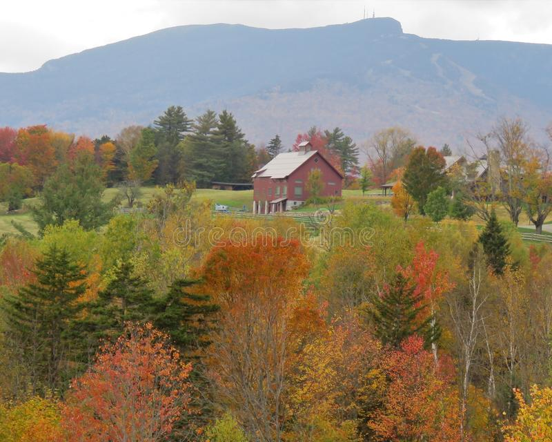New England mountaintop barn in fall.  royalty free stock images