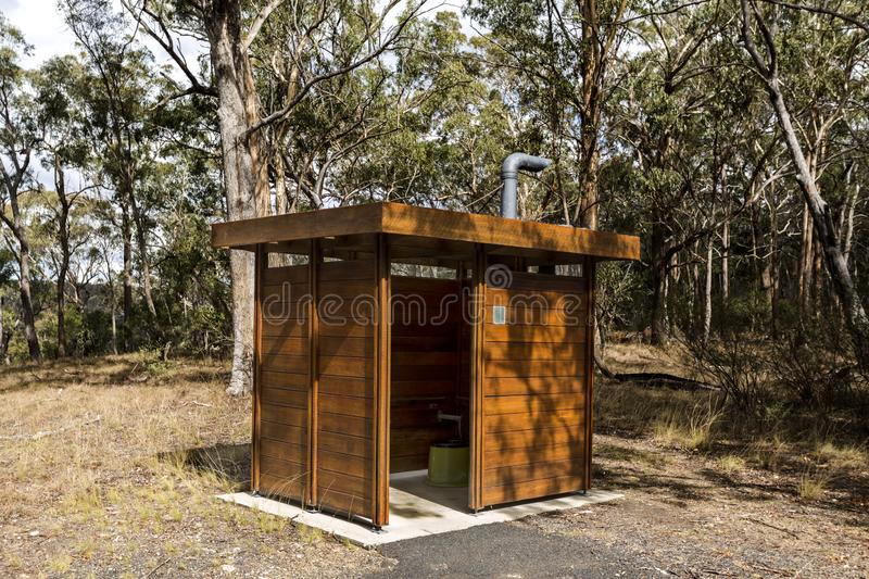 New England National Park – Waterless Toilet. Waterless and environmentally safe toilets in use in NSW National Parks, as seen in Wollomombi Gorge, New royalty free stock photography