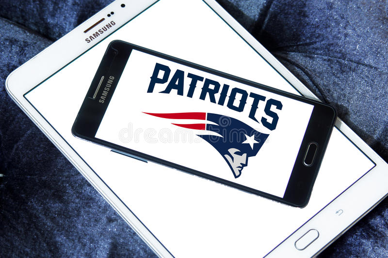 New England Patriots american football team logo. Logo of New England Patriots american football team on samsung mobile. The New England Patriots are a royalty free stock photos