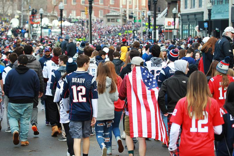 New England Patriots 53th Super Bowl Parade in Boston on Feb. 5, 2019 royalty free stock image